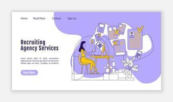 página de inicio de servicios de agencia de contratación vector