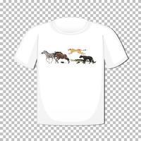 Diseño de grupo de animales salvajes en camiseta aislado sobre fondo transparente