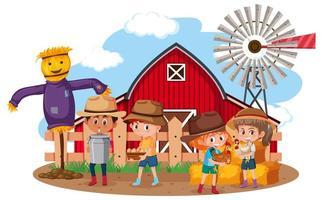 niños en la escena de la granja sobre fondo blanco vector