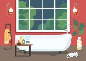 bañera inteligente con flujo de agua remoto vector