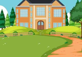 Empty scene with a big house in the nature vector
