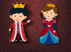 Little king and queen cartoon character on red background