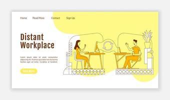página de inicio del lugar de trabajo distante vector