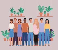 avatares de mujeres y hombres y diseño de plantas.
