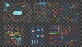 conjunto de objetos coloridos y símbolos dibujados a mano doodle sobre fondo transparente vector