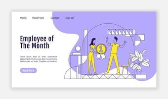 página de destino del empleado del mes vector