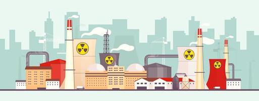 planta nuclear cerca de la ciudad vector