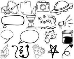 Set of item and symbol hand drawn doodle