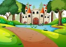 Empty scene with castle in nature vector