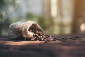 Coffee beans in a burlap bag