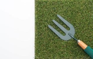 Small garden rake on grass