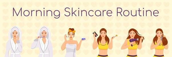 Conjunto de rutina de cuidado de la piel por la mañana para mujer vector