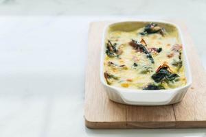 Spinach lasagna in a casserole dish