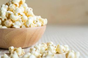 Bowl of caramel popcorn on the table