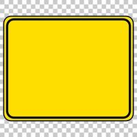 Yellow traffic warning sign on transparent background vector