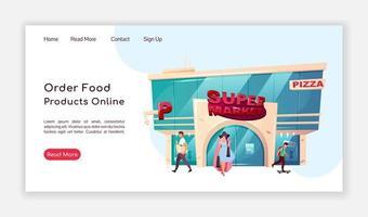 ordenar productos alimenticios página de destino en línea vector