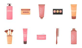 Cosmetics containers objects set