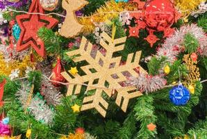 Close-up of a Christmas tree with ornaments