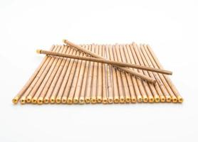 Bamboo chopsticks on white background