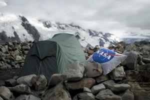Nasa camping pillow in the mountains