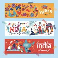 Indian icons and symbols banners vector