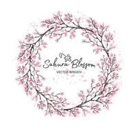 Sakura japan cherryt with blooming flowers watercolor vector