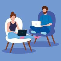 pareja sentada en sillas y trabajando con computadoras portátiles vector