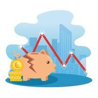 Stock market crash with broken piggy bank vector