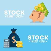 Stock market crash banner set vector