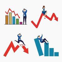 conjunto de iconos de caída del mercado de valores vector
