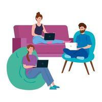personas que trabajan juntas en sus computadoras portátiles vector