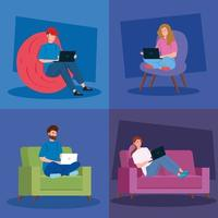 People working from home banner set vector