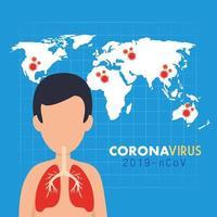 banner médico de síntomas de coronavirus vector
