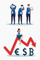 Stock market crash icon set vector