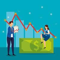 caída del mercado de valores con empresarios y flecha hacia abajo vector