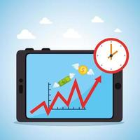 Stock market crash with tablet device vector