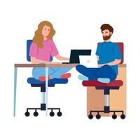 People working together on their laptops vector