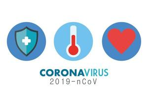 Coronavirus medical banner with icons