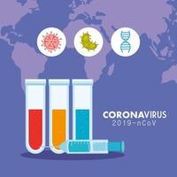 Banner médico de coronavirus con tubos de ensayo. vector