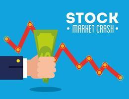 caída del mercado de valores con flecha y dinero vector