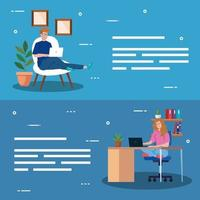 People working from home banner set