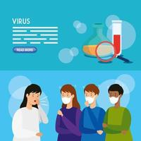 conjunto de banners médicos de coronavirus vector