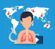 banner médico coronavirus con cuerpo humano vector