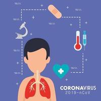 banner médico coronavirus con iconos