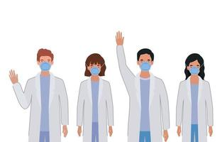 Men and women doctors with uniforms and masks