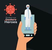 Doctor hero with protective suit mask and glasses vector