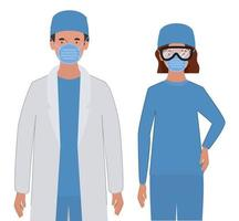 Man and woman doctor with uniforms mask and glasses