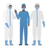 Doctors with protective suits glasses and masks against Covid 19 vector