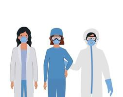 Doctors with protective suits glasses and masks vector