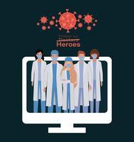 mujeres y hombres médicos héroes con uniformes y máscaras vector
